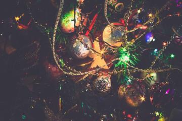 Christmas Lights and Decorations on Tree Retro