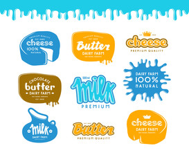 Set of label for milk, butter and cheese