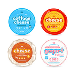 Set of template label for cheese and yogurt