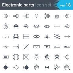 Electric symbols set of lighting