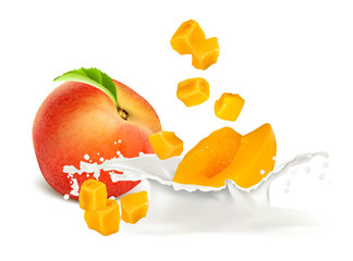 Peach slices falling to milk. Vector illustration.