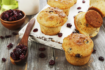 Muffins with dried cranberries