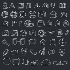 Hand drawn contacts icon set