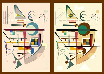 Abstract background, expressionism art style , set 2 color variants