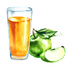 Apple juice . Watercolor Hand drawn illustration, isolated on white background
