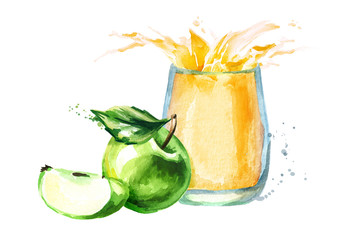 Apple juice. Watercolor Hand drawn illustration, isolated on white background