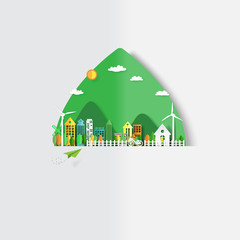 Urban forest and eco city on green leaf background.Paper art of renewable energy ecology and environment conservation creative idea concept design.Vector illustration.