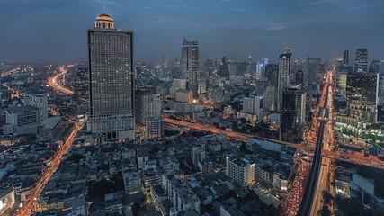 Fototapete - Bangkok twilight panorama