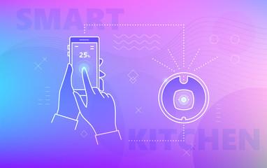Hand using smartphone for smart vacuum