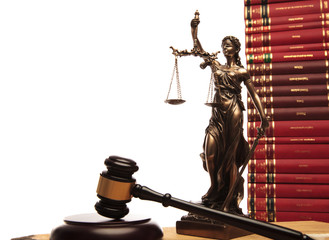 justice goddess , gavel and law book