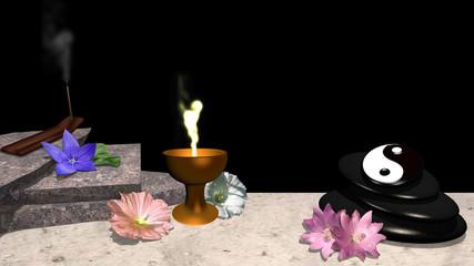 verschiedene Blüten, Orangenblatt, Steinplatten, Räucherstäbchen, ein Steinhaufen aus Bimsstein mit yin und Yang Symbol und ein goldener Kelch mit Flamme. 3d render