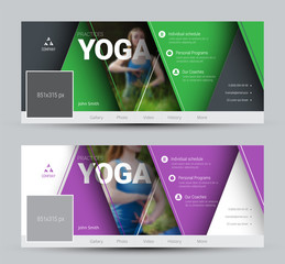 Modern Design vector banners for social networks with floating triangles and a place for photos.
