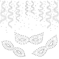 Masquerade masks, streamers, polygon, black-white