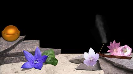 verschiedene Blumen, Räucherstäbchen, Bimsstein und eine Schüssel mit goldenem Ball auf Sandstrand vor schwarzem Hintergrund. 3d render