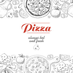 Horizontal background with pizza and various products