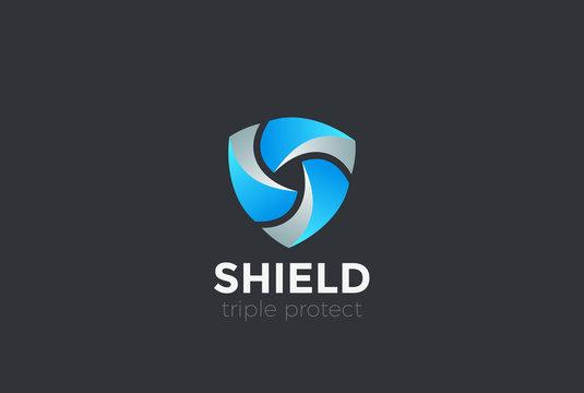 Shield Teamwork protect defense Logo design vector
