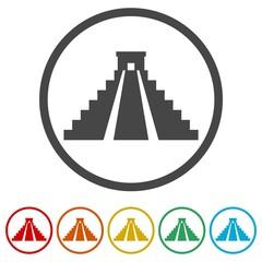 El Castillo pyramid in Chichen Itza flat icon, 6 Colors Included