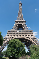 Eiffel Tower under blue sky and white clouds, No body, Paris