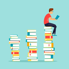 Guy sits on books reading. Flat design vector illustration.