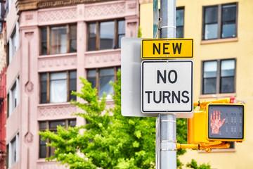 No turns traffic sign, selective focus, New York City, USA.