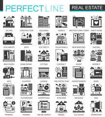 Real estate black mini concept icons and infographic symbols set