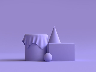 geometric shape violet-purple minimal background 3d rendering