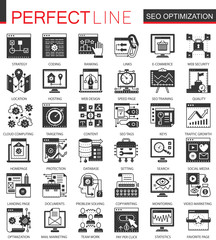 Seo optimization black mini concept icons and infographic symbols set