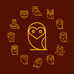 Vector  round frame with owls icon. Cartoon style, flat vector illustration.