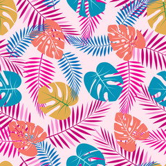 pattern with color palm leaves