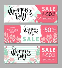 Season discount banner design for International Womens Day.