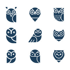 Owl  vector icon collection.