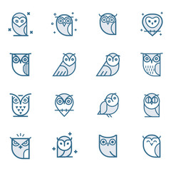 Poster Owls cartoon Owl outline icons collection. Set of outline owls and emblems design elements for schools, educational signs. Unique illustration for design.