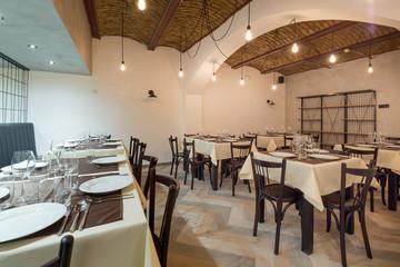 Restaurant interior in a new hotel
