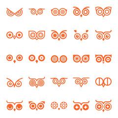 Owl eyes. Unique vector elements for design.Big Set of elements