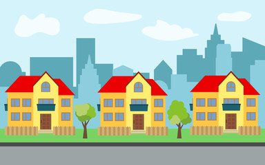 Vector city with three two-story cartoon houses and green trees in the sunny day. Summer urban landscape. Street view with cityscape on a background