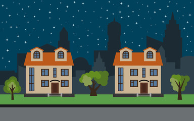 Vector city with two two-story cartoon houses and green trees at night. Summer urban landscape. Street view with cityscape on a background