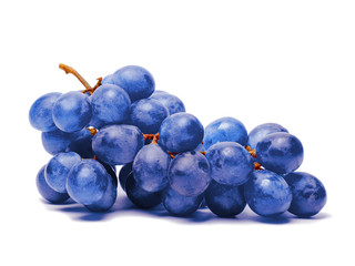 Blue grape. Bunch of fresh berries isolated on white background