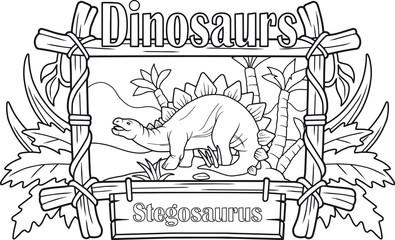 cartoon ancient stegosaurus, coloring book