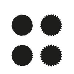 Set of vector starburst, sunburst badges. Black on white color. Simple flat style Vintage  labels, stickers.
