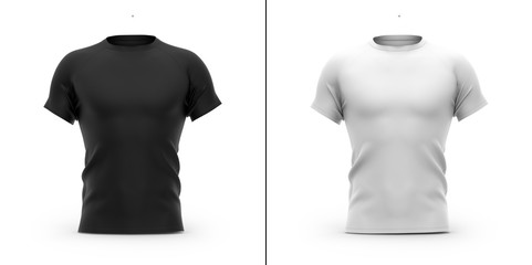 Men's t shirt with round neck and raglan sleeves. 3d rendering.