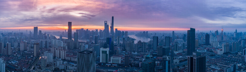 Aerial View of Shanghai Skyline in the Morning. China. Panorama.