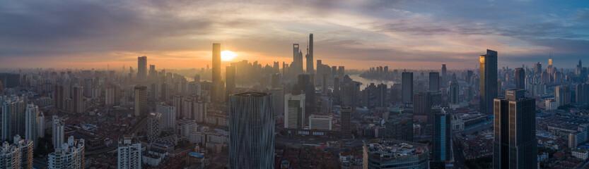 Shanghai Skyline at Sunrise. Panoramic Aerial View.