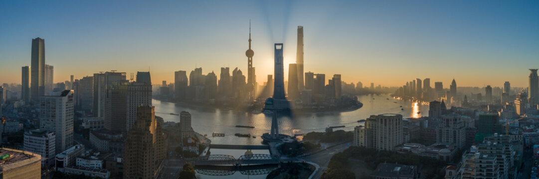 Shanghai Skyline and Huangpu River at Sunrise. Lujiazui District. Panoramic Aerial View.