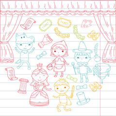 Fotobehang Doodle Childrens performance in the theater. Kindergarten musical. School kids playing. Stage, entertaiment, cinema. Little actors