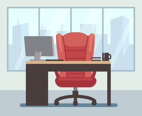Modern boss room with big window and laptop on desk. Empty contemporary office interior. Business vector cartoon background