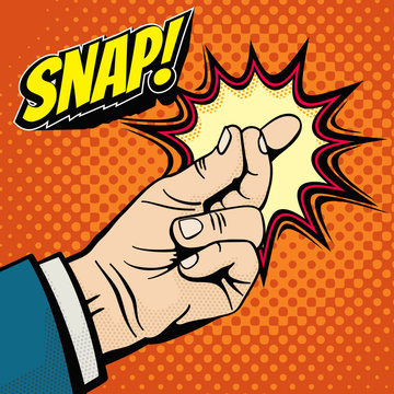Male hand with snapping finger magic gesture. Its easy vector concept in pop art style