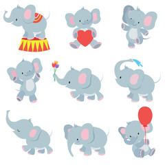Funny cartoon baby elephants vector collection for kids stickers
