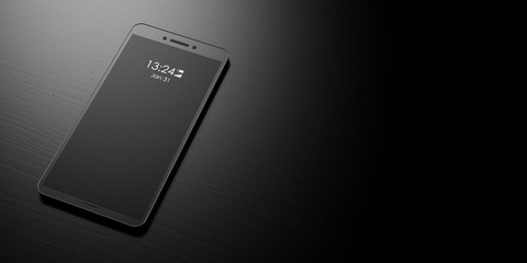 Smartphone with blank black screen on a black background, banner, copy space. 3d illustration