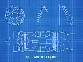 Airplane jet engine with turbine vector blueprint design
