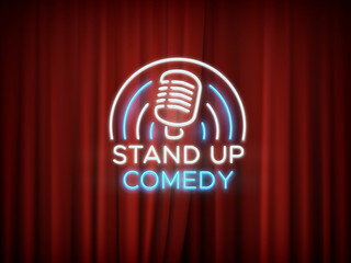 Stand up comedy neon sign with microphone and red curtain vector background